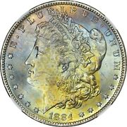 1884-o Morgan Silver Dollar Graded Ngc Ms64 Blue/gold Obverse With Textile