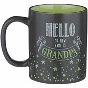 12 Ounce Mug -hello My New Name Is Grandpa Black And Green Ceramic With Box