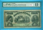 Canada-note 4 Dollar 1902 Dc-17b Very Strong Pmg Fine-15est2900