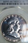 Pr66 1954 Pcgs Graded Franklin Silver Half Dollar Proof Naturally Toned Coin