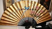 Huge Chinese Blue Birds Blossom Gold Gilt Watercolor Fan Painting Signed