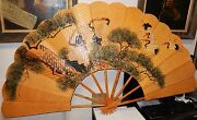 Rare Huge Chinese Cranes Bonsai Tree Watercolor On Bamboo Wicker Fan Painting