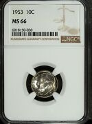 1953 P Ngc Ms 66 Roosevelt Silver Dime ☆☆ Great For Sets ☆☆ 030