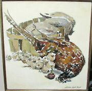 Sheldon Leigh Bergh Original Oil On Canvas Pheasant Birds In Pale Painting