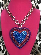 Luly Lu Lois Lane Vintage Huge Bright Blue Red Lucite Heart Necklace