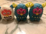 Mcdonald's Collectible 3 Blue And 1 White Furby Plastic Toy Figure 3 Year 2013