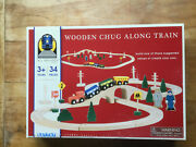 Battat Wooden Chug Along Train Set 34 Pc Engine And Cars People Signs And Track