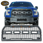 Fits 15-17 Ford F150 Pickup Front Bumper Hood Mesh Led Grille Abs Raptor Style