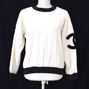 Round Neck Side Cc Long Sleeve Tops White Black Authentic Ak38590k