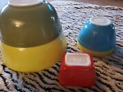 Lot 5 Pyrex Mixing Bowls 2 Yellow Green Red Blue. Vintage Lot