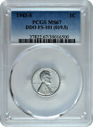 1943-s 1c Lincoln Steel Wheat Cent Pcgs Ms 67 Ddo Fs-101 019.5