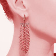 Vintage Style 4.88cts Real Old Rose Cut Diamond Silver Feather Earring Jewelry