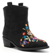 Mudd Black Faux Suede Womens Western Embroidered Floral Ankle Boot Boots 6m