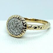 14k Yellow Gold Phillips House Affair Hammered Pave' Diamond Ladies Ring