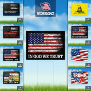 Patriotic Yard Signs - Choose Your Design - 10pk 18x24 2 Sided W/ Stepstakes