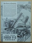 1936 Magazine Ad For Ford Trucks - V-8 Hydraulic Dump Truck At Building Site