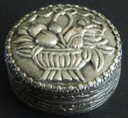Antique Chinese Silver Repousse Flower Basket Powder Compact Box W Mirror