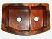 Rounded Apron Front Farmhouse Kitchen Double Bowl Mexican Copper Sink 60/40 30