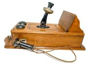Antique Kellogg Hand Crank Wall Phone Wooden With Internal Parts