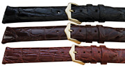 Genuine Crocodile Hand Made In Italy Watch Strap 2.9mm Black Brown And Chestnut