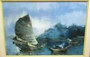 Wo. Chiang Chinese Fishing Boats Huge Original Oil On Canvas Painting