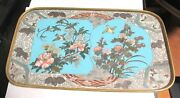 Rare Japanese Bronze Cloisonne Enamel Birds And Flowers Tray Plate