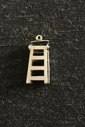 Vintage Sterling Silver Solid Charm Step Ladder Movable Opening Diy Unique Rare