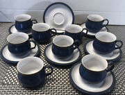 Denby 9 Cups And 7 Saucers - Authentic English Stoneware Blue England Euc