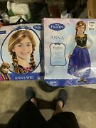Disney Frozen Anna Dress Up Costume Blue Long Sleeves Toddler 3-4 With Anna Wig