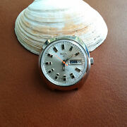 Vintage Elgin Day-date Watch W/patina,divers All Ss Case,runs For Parts/repair