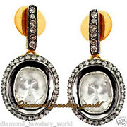 Vintage 1.56cts Genuine Old Mine Rose Antique Cut Diamond Silver Earring Jewelry