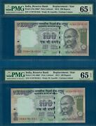 Rs. 100 { Star Replacement } Mwr Rd18 Gs-21 2012 Pmg 65 Epq Gem Unc India