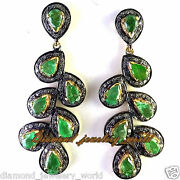 Vintage Style 3.05ct Old Rose Cut Diamond Emerald Studded Silver Earring Jewelry