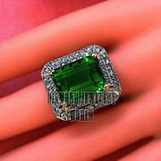 Victorian Style 2.21cts Old Rose Cut Diamond Emerald Studded Silver Ring Jewelry