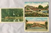 Lot Of 3 Linen Postcards Botanic Gardens Fort Worth Texas 1 Posted 2 Unposted