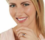 14k Gold On Emerald, Sapphire And Ruby Stack Rings, Sterling Silver Sz- 8 Qvc