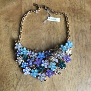 Coach Dragonfly Floral Gold Plated Necklace Bib Crystal Flower Cluster Nwt 498