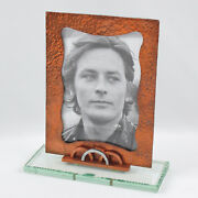 Vintage French 1940s Geometric Picture Photo Frame Copper And Glass Slab