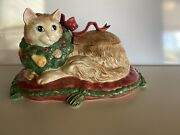 Fitz And Floyd Classics Tureen Centerpiece Ornate Cat With Wreath Rare 1992
