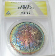 2005 American Silver Eagle Graded Ms67 Amazing Toning