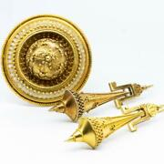 An Antique 18 K Gold Early Victorian Memento Mori Sentimental Set Of Brooch And