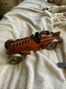 Vintage Hubley Race Car Animated Flames Racer 10 1/2 Inches