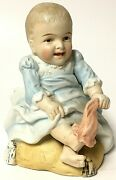 Rare Vintage Bisque Porcelain Piano Baby Planter Sitting On Pillow Socks Off
