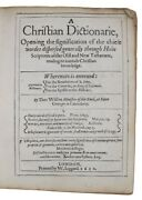 1612 First English Biblical Dictionary Christianity Bible Religion 1st Edition
