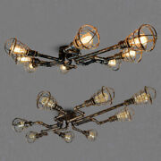 Antique Farmhouse Rustic Chandelier Water Pipe Wire Cage Ceiling Light Fixture