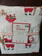 Nwt Pottery Barn Kids Heritage Santa Cotton Sheet Set Twin Sold Out Christmas