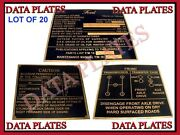 20x Jeep Gpw Ford Mid Production Brass Data Plate Set G503 Wwii Ww2 Nomenclature