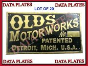20x Brand New Early Olds Mobile Curved Dash Data Plate Etched Brass