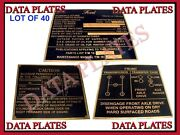40x Jeep Gpw Ford Mid Production Brass Data Plate Set G503 Wwii Ww2 Nomenclature