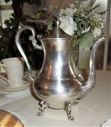 Vtg Art Deco Sheridan Silver On Copper Teapot Footed 10 Tall Coffee Tea